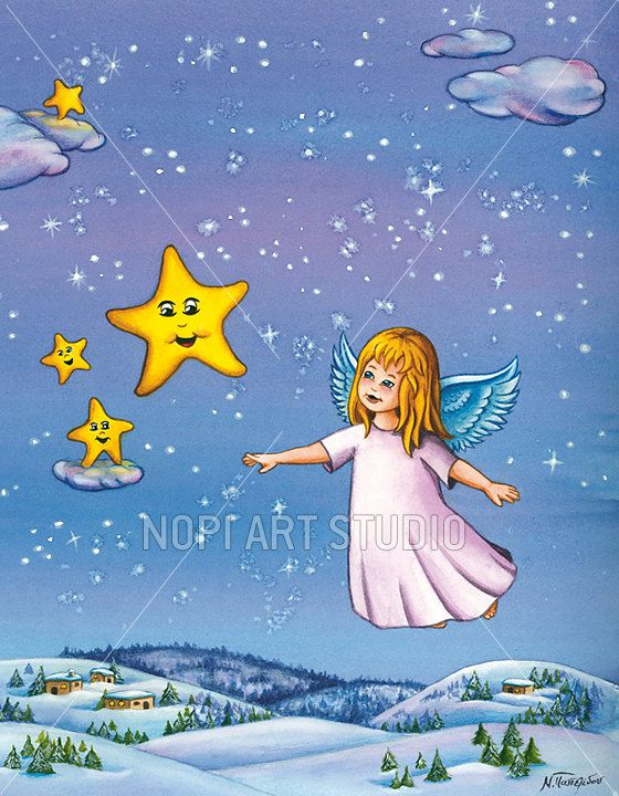 Christmas Angel illustration, Instant Download Printable Watercolor Painting, Wall Art, nursery & kids room decor print, xmas greeting card by NopiArtStudio on Etsy