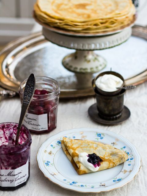 """Russian Crêpes """"Blini"""" Recipe; if you don't want to chase down kefir, you can substitute, per cup, 3/4 cup plain yogurt and 1/4 cup milk"""