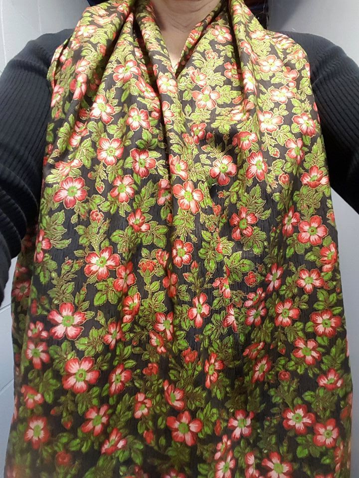 Dining Scarf Adult Bib - Pretty red flowers/gold accent, lovely scarf for eating out or in. Cotton scarves protect from drips & spills. by ByGrammaWallace on Etsy