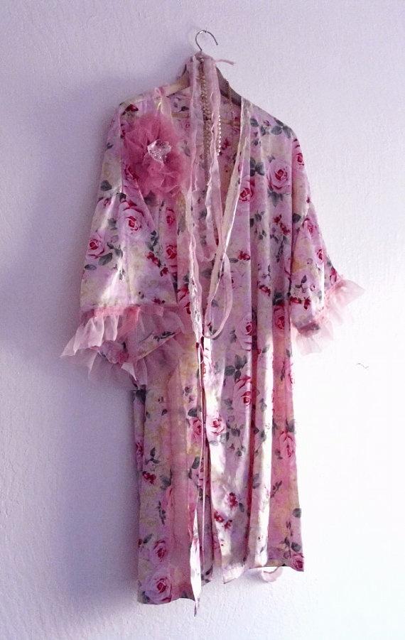French Fantasy  Bohemian Satin Robe/ Eco Fashion by KheGreen,