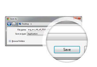 AVG Antivirus installation step 1 - dialog with save button