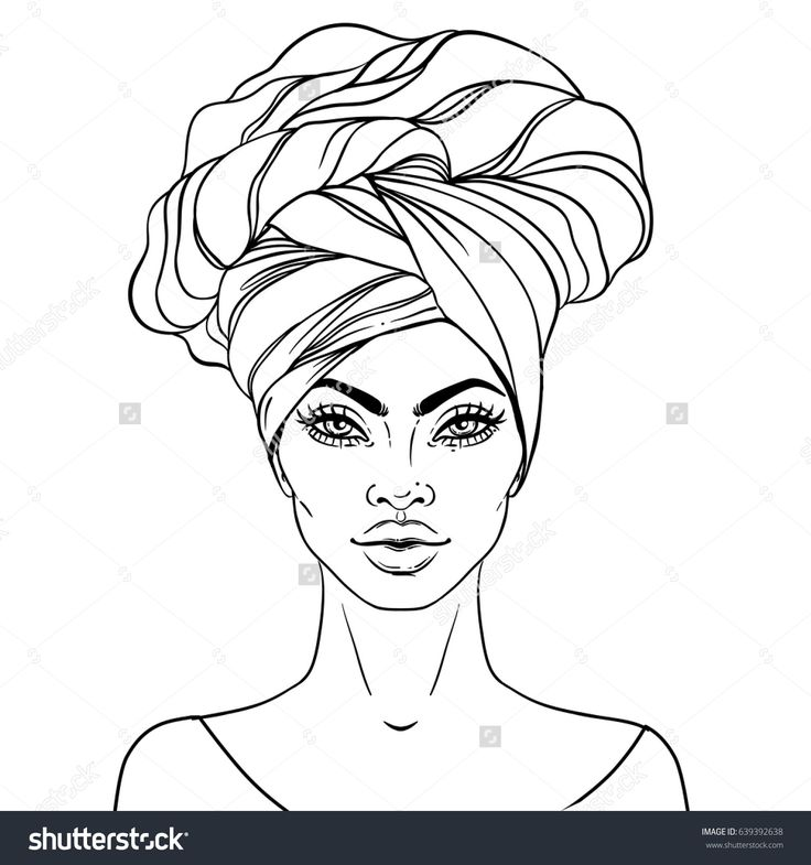 vector illustration of black woman with glossy lips and turban great for avatars illustration isolated on white coloring book for adults - African American Coloring Books