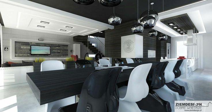 Wnętrze domu w Białymstoku czarno białe
