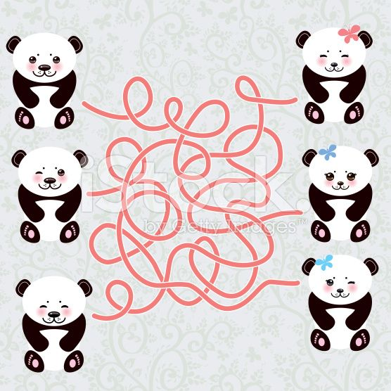 Kawaii funny panda labyrinth game for Preschool Children. Vector royalty-free stock vector art