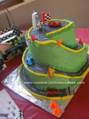 Homemade Race Track Birthday Cake: My son wanted a race car themed party for his fourth birthday and I decided to make him a race track birthday cake to fit in with the theme.    For the