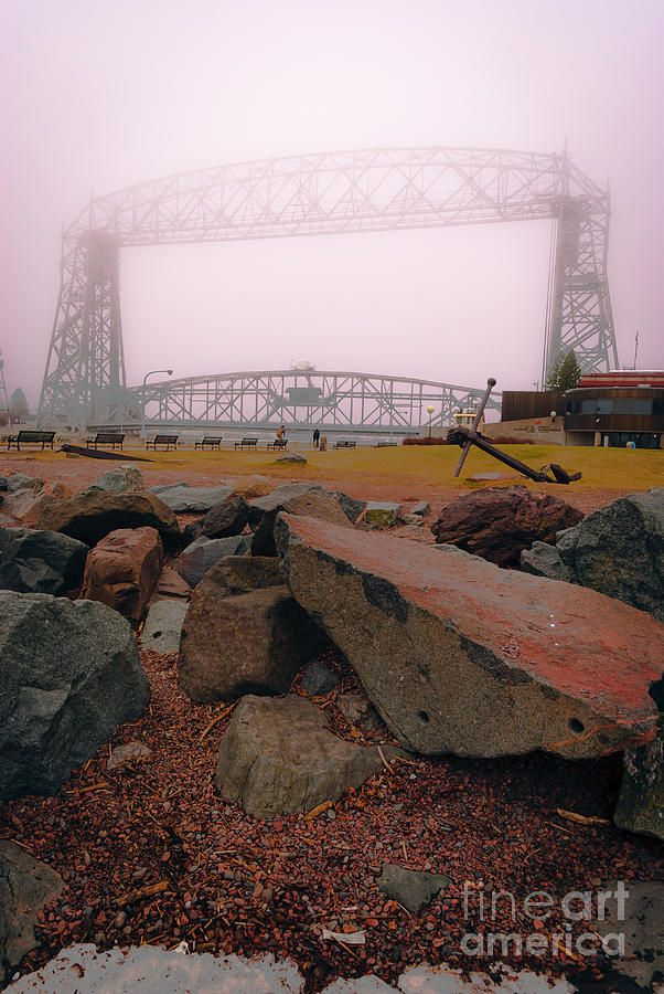 'Lift Bridge in Spring Fog' by Shutter Happens Photography. Taken in March 2012 near Lake Superior at the Lift Bridge near Canal Park, Duluth