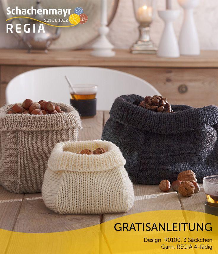 Apfel, Nuss und Mandelkern – es müssen nicht immer Schüsseln oder Schalen sein, in denen Sie weihnachtliches Knabberzeug auf den Tisch bringen. Als höchst dekorative Alternative haben sich diese Säckchen aus #Regia 4-fädig bewährt. Ein Strickprojekt, das auch für Anfänger gut geeignet ist!