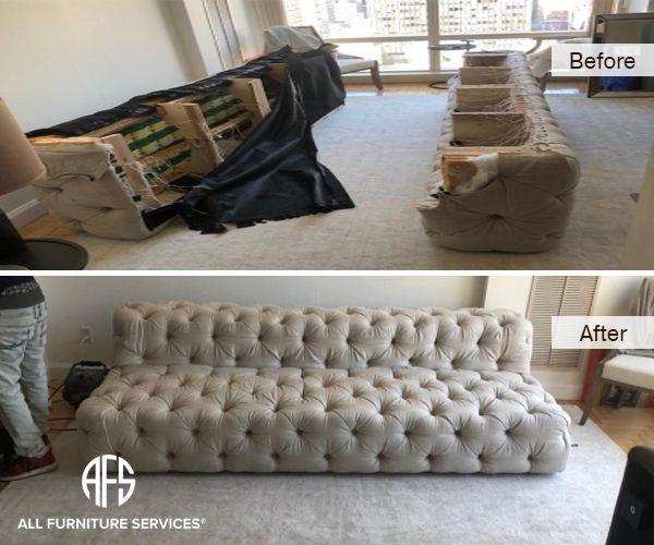 Restoration Hadrware Tufted Sofa Couch Disassembly Reassembly Furniture Disassembling Assembling To Fit Move Tufted Sofa Furniture Sofa Couch