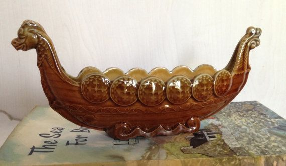 Vintage WADE Pottery Viking Ship Long Boat by florenceforeverfinds