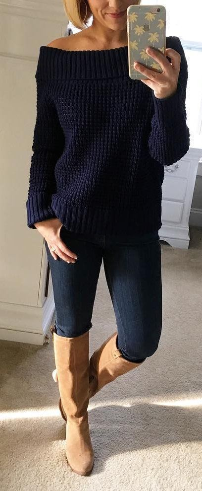 #winter #fashion / Navy Off Shoulder Knit / Black Skinny Jeans / Brown OTK Boots