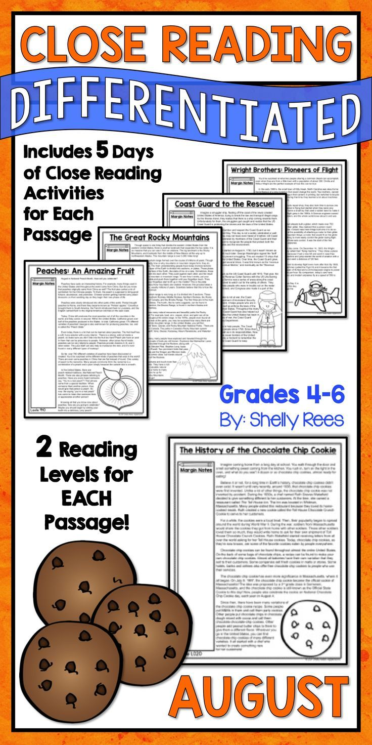 Close Reading Passages and Activities for the Month of August are fun and interesting for 3rd, 4th, 5th, 6th, and 7th grade students in elementary and middle school. Differentiated passages, Close Reading steps & strategies, graphic organizers, and annotation guides make this the complete close reading toolbox and kit for classroom teachers! Peaches | Rocky Mountains | Chocolate Chip Cookie | Coast Guard | Wright Brothers
