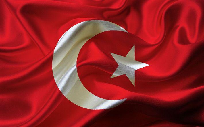 Download imagens Turquia bandeira, Bandeira da turquia, textura de seda, bandeira da Turquia, o simbolismo da Turquia