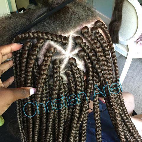 Triangle Parting Box Braids Hair Braids For Black Hair
