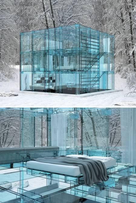 This house is a conceptual design by Milano-based designer and architect Carlo Santambrogio. These are actually pictures of a very well done artist's rendering and not a real house.