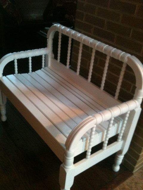 Upcycled bench made from antique spool bed by SavannaStyle on Etsy, $175.00