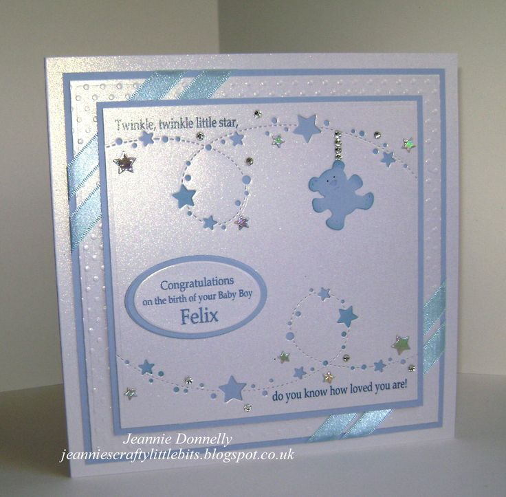 And the same card again for just one Baby Boy using Memory Box called Starlit Breeze also using Spellbinders Grand Squares and Dainty Dots Embossing Folder, Nelly Snellen Ovals and Cottage Cutz Baby Clothes Bear.