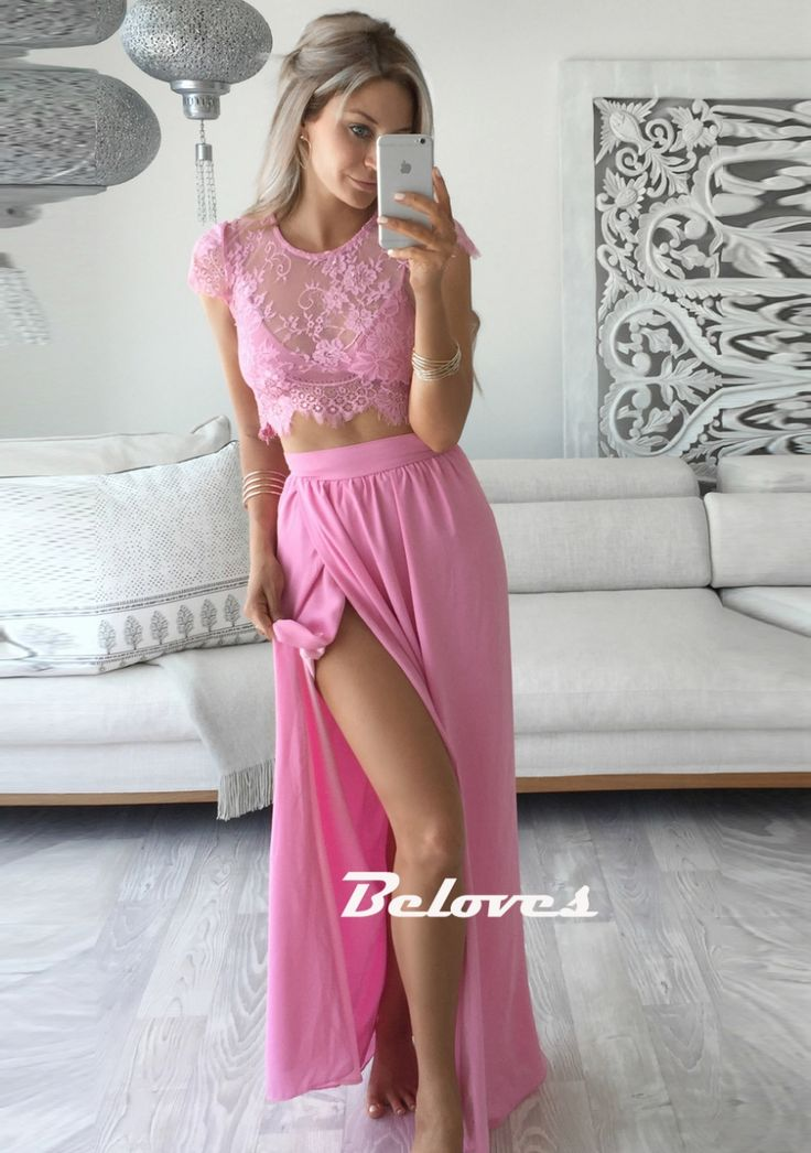 Prom Dress, Lace Dress, Pink Dress, Two Piece Dress, Two Piece Prom Dress, Pink Lace Dress, Lace Prom Dress, Pink Prom Dress, High Slit Dress, Dress Prom, Two Piece Lace Dress, Slit Dress, Lace Two Piece Dress, Dress With Slit, Lace Top Dress