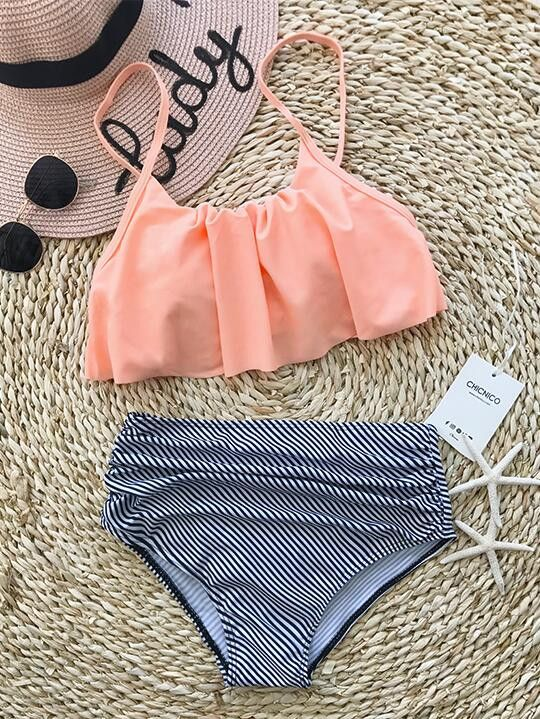 Chicnico Cute Striped High Rise Flounce Bikini Set