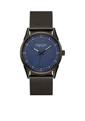 Kenneth Cole Men's Men's Kenneth Cole New York Black Mesh Bracelet With Blue Dial Watch - Black - One Size