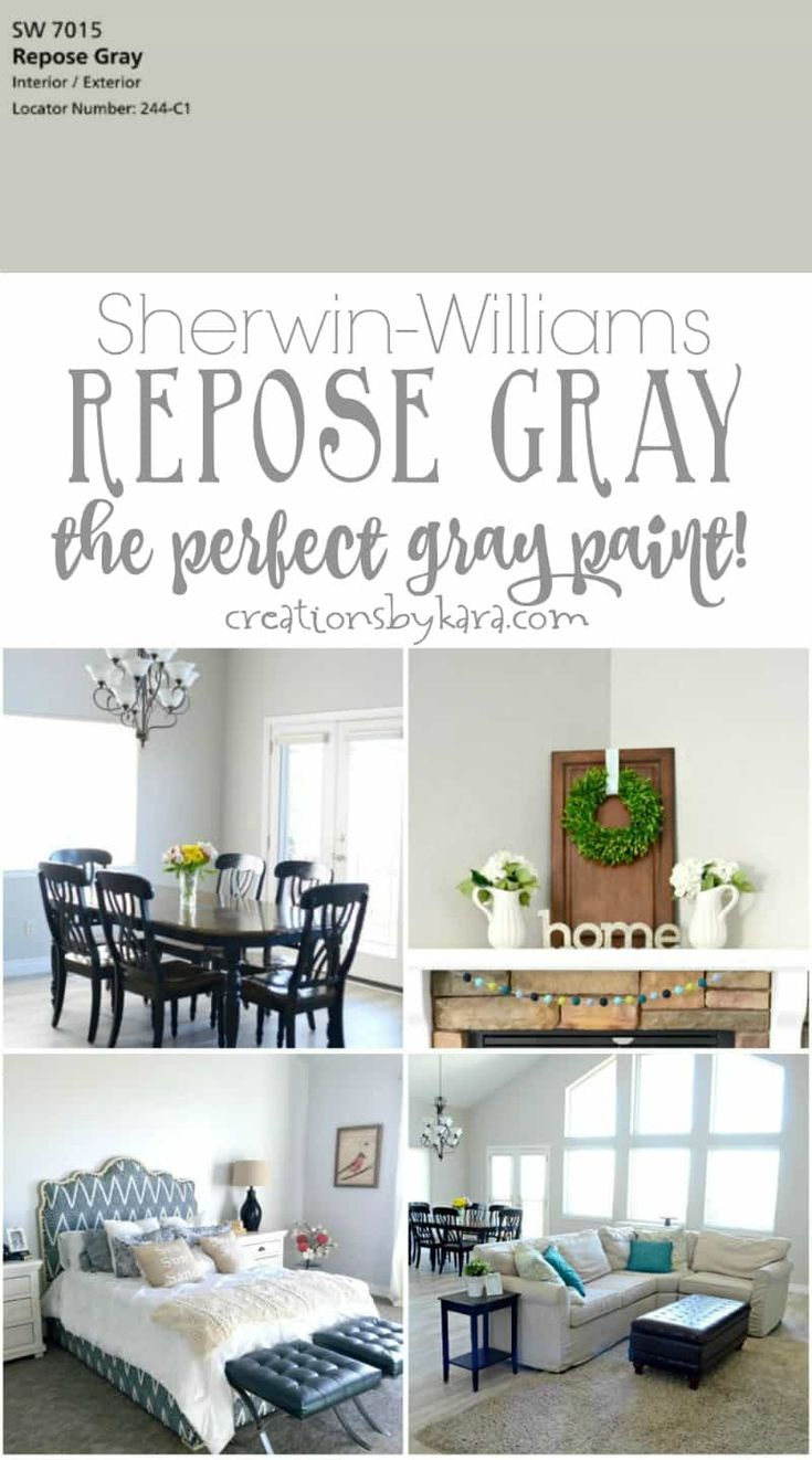Sherwin-Williams Repose Gray - the perfect gray paint! It looks great in any lighting. A gorgeous gray paint color. via @creationsbykara.com