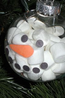 diy Marshmallow Snowman Ornament  This would be a GREAT class project for the holidays...any age group.  (Counting, figure calories, figure weight of marshmallows, estimate, etc.) Then turn it into a writing assignment.  You have math, art, and literacy covered in a fun project!