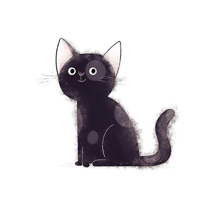 черный котенок рисунок компании относится ночным