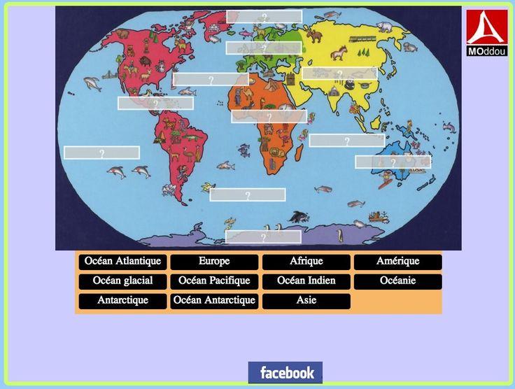 Les noms de continents et océans (HTML5)