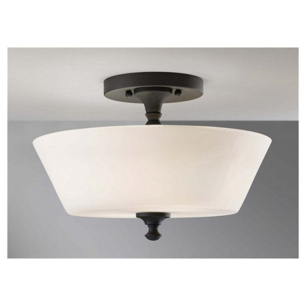 Kitchen Semi Flush Lighting with Warm White Led Bulbs Inside Glass Uplighter Lamp Shades Below Light Fixture Plate Mounted on Smooth Ceiling Paint also Fancy Light Shade Semi Flush Lighting Counter Kitchen Lights