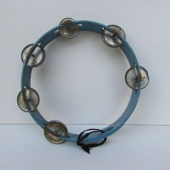 Vintage blue wooden tambourine Double tambourine with 12 Jingles Retro musical instrument  Musical toy