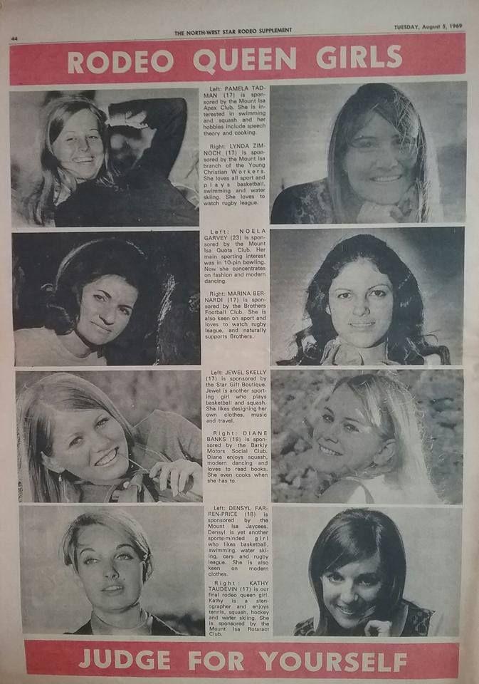 Mount Isa Rodeo Queen Girls 1969.