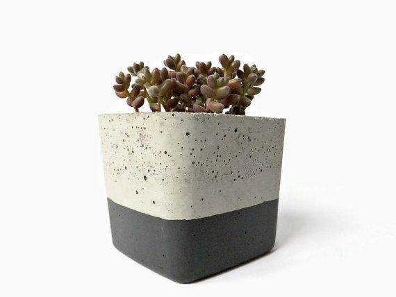 Urban Industrial Concrete Planter Gray Pot Modern Planter Cement Succulent Home Decor