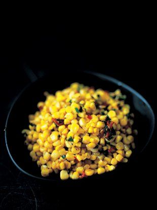 Stir-fried corn with chilli, ginger, garlic and parsley Jamie Oliver Jamie's Dinners
