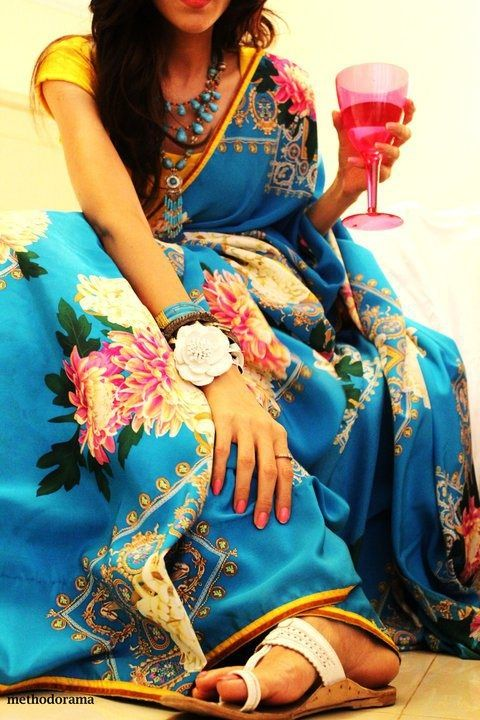 blue_floral_print_saree_methodorama_misha_singh
