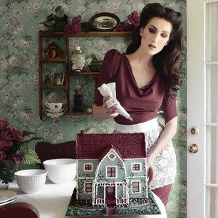 She even baked a miniature version of her parents' house. | This Woman Looks Like A Pinup But Bakes Like Tim Burton