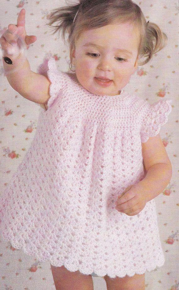 Baby Häkelkleid Vintage Häkelanleitung hübsches Babykleid   – crochet