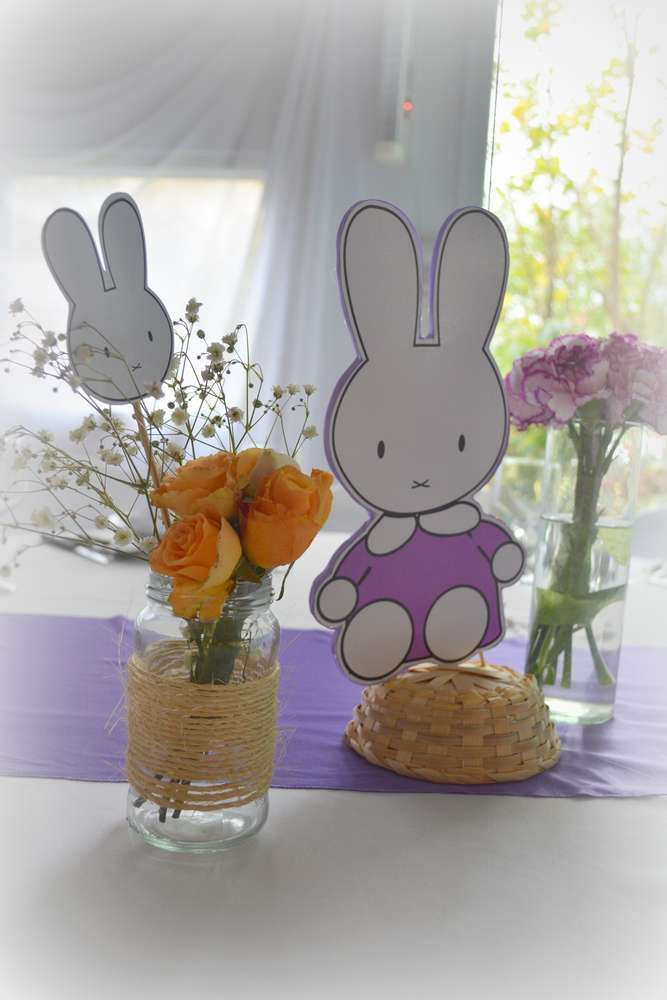 Adorable decorations at a purple Miffy birthday party! See more party ideas at CatchMyParty.com!
