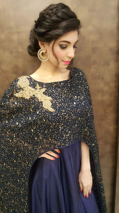 Cocktail Outfits - Navy Blue Gown with Sequinned Cape and Golden Embroidery Patch | WedMeGood #wedmegood #indianbride #cocktail #blue #sequinned #navy #cape #cocktailoutfit #gown #wedmegood