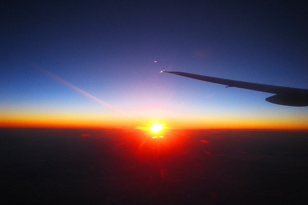 Sunrise from the point of view in the airplane.