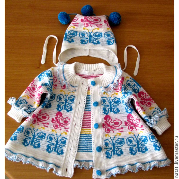 Купить Платье-пальто и шапочка - разноцветный, орнамент, платье для девочки, платье вязаное, пальто вязаное