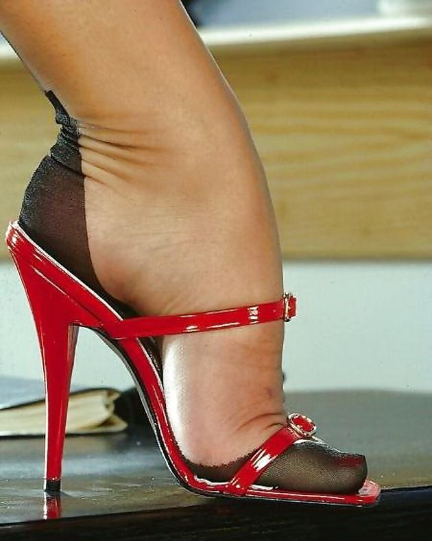 Dangling black patent heels and stockings 2 2