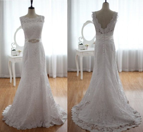 Vintage lace wedding dress open v back dress with beading for Vintage lace wedding dress open back