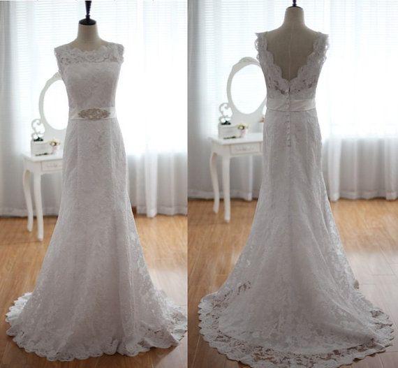 Vintage lace wedding dress open v back dress with beading for Vintage lace wedding dress open back