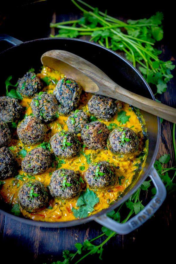 vegan lentil meatballs with Indian Curry Sauce