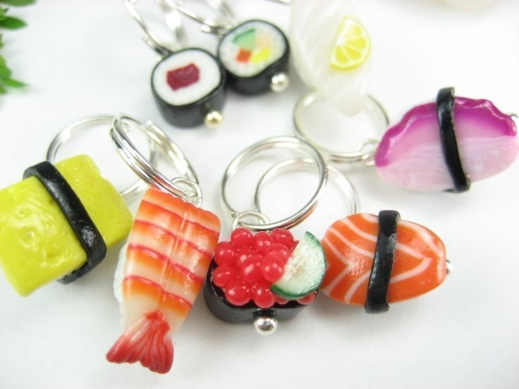 Sushi Stitch Markers (Set of 8) food stitch marker polymer clay charm knitting stitch markers sushi collectible, knitting, gift by beadpassion on Etsy https://www.etsy.com/listing/62788646/sushi-stitch-markers-set-of-8-food