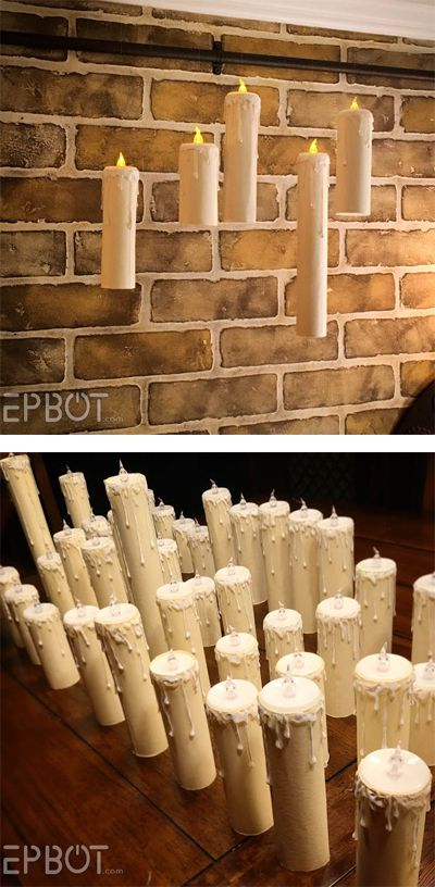 floating candles for a harry potter party made with card stock hot glue