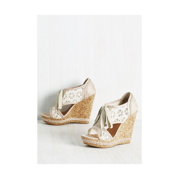 Fairytale Social Platforms Wedge ($55) found on Polyvore featuring women's fashion, shoes, cream, heels, other heel, peep-toe shoes, peep toe shoes, platform wedge shoes, platform shoes and wedge heel platform shoes