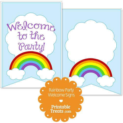 Printable Rainbow Welcome Signs from PrintableTreats.com