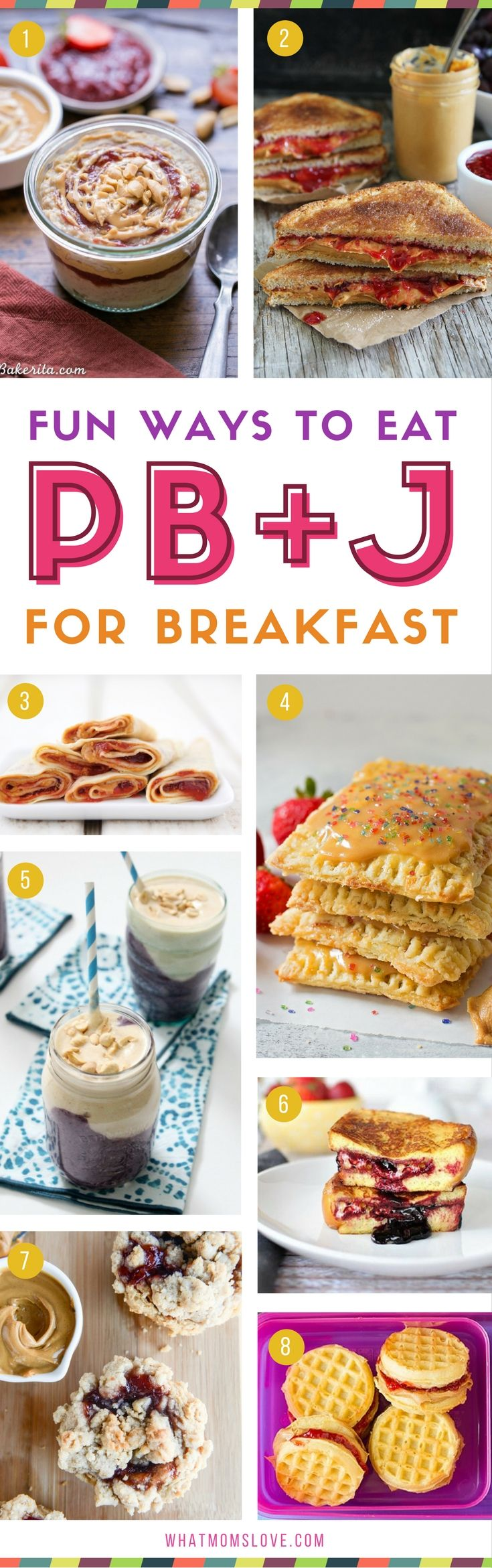 Peanut Butter Jelly breakfast for kids | Easy and fun PBJ recipes including smoothies, muffins and pancakes! Great for on the go and picky eaters