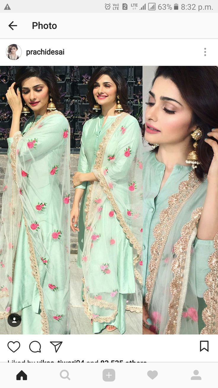 Sea green plain suit with flotal booties on net dupatta