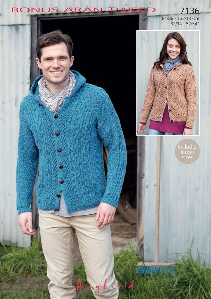 d26cee6f2e095 Hayfield 7136 Knitted Cardigans in Hayfield Bonus Aran Tweed ( 4) weight  yarn. For adults from 32